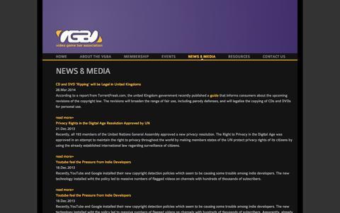 Screenshot of Press Page vgba.org - News & Media | Video Game Bar Association - captured Oct. 26, 2014