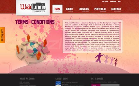 Screenshot of Terms Page weblumia.com - Terms & Conditions - Weblumia Infomatics | Web Lumia Infomatics - captured Oct. 7, 2014