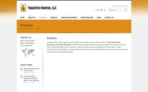 Screenshot of Products Page transtexhunter.com - Gas Treating Unit & Gas Processing Equipment - TransTex Hunter - captured Oct. 7, 2014