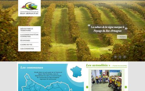Screenshot of Home Page cc-basarmagnac.fr - Bienvenue | Communauté de Communes du Bas-Armagnac - captured Oct. 16, 2015