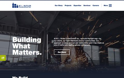 Screenshot of Home Page wlbutler.com - W. L. Butler Construction, Inc. | Full-Service General Contractor - captured Aug. 13, 2015