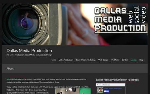 Screenshot of About Page dallasmediaproduction.com - About - Dallas Media Production - captured Sept. 30, 2014