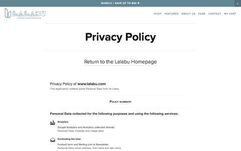 Screenshot of Privacy Page lalabu.com - Privacy - Lalabu - captured July 13, 2017