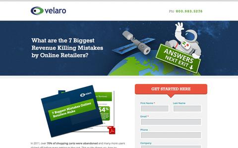 Screenshot of Landing Page velaro.com - What are the 7 Biggest Revenue Killing Mistakes by Online Retailers? - Velaro - captured Oct. 27, 2014