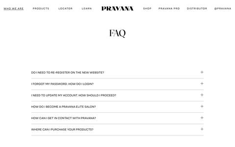 Screenshot of FAQ Page pravana.com - FAQ - PRAVANA - Hair Color & Hair Care Products for the Professional Stylist - captured Nov. 4, 2018