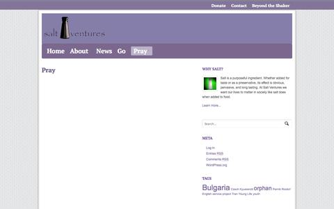 Screenshot of Signup Page saltventures.org - Pray  |  Salt Ventures - captured Oct. 4, 2014