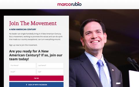 Screenshot of Signup Page marcorubio.com - Join Marco Rubio - captured Nov. 28, 2015