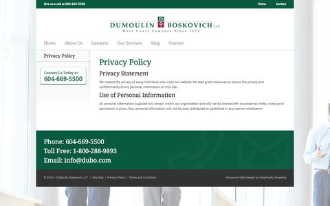 Screenshot of Privacy Page dubo.com - Privacy Policy - Dumoulin Boskovich - captured Nov. 24, 2016