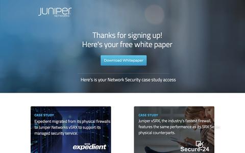 Screenshot of Landing Page juniper.net - Network Security FREE White Paper   Juniper Networks - captured Sept. 19, 2018