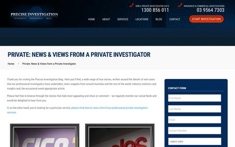Screenshot of Blog preciseinvestigation.com - News & Views from a Private Investigator - Precise Investigation - captured July 20, 2018