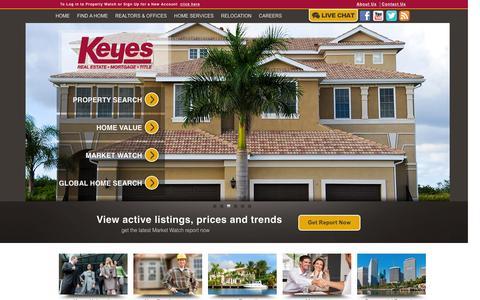 Screenshot of Home Page keyes.com - Florida Real Estate & Homes for Sale | Keyes Realtors - captured Feb. 12, 2016