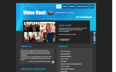 Screenshot of Home Page videovault.com.au - Video Production and Online Video Marketing   Geelong, Melbourne - captured Oct. 7, 2014