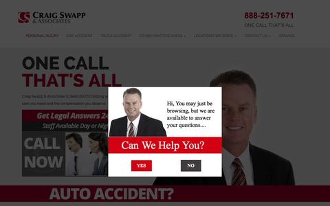 Screenshot of Home Page craigswapp.com - Salt Lake City Personal Injury Lawyer Craig Swapp - captured Jan. 22, 2015