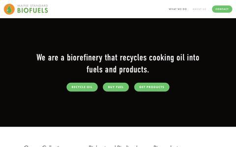 Screenshot of Home Page mainestandardbiofuels.com - Maine Standard Biofuels - captured July 13, 2018