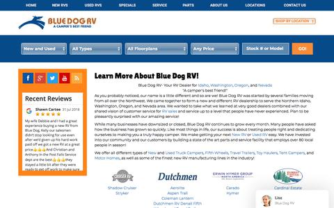 Screenshot of About Page bluedogrv.com - About Our RV Dealership Seattle WA | Portland OR - captured Aug. 2, 2018