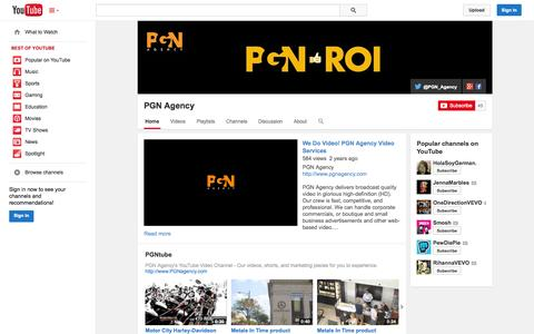 Screenshot of YouTube Page youtube.com - PGN Agency  - YouTube - captured Oct. 22, 2014