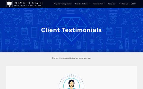 Screenshot of Testimonials Page palmettost.com - Testimonials - Palmetto State Properties & Associates - captured Sept. 26, 2018