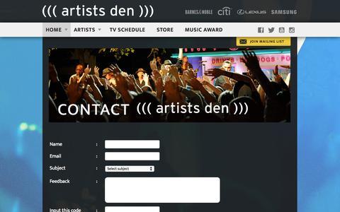Screenshot of Contact Page artistsden.com - Contact - Live from the Artists DenLive from the Artists Den - captured Nov. 2, 2014