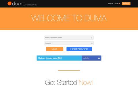 Screenshot of Login Page dumaworks.com - DUMA : Login - captured Oct. 11, 2017