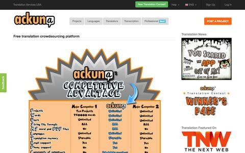 Screenshot of Home Page ackuna.com - Ackuna Translate - Free translation crowdsourcing platform - captured Oct. 5, 2015