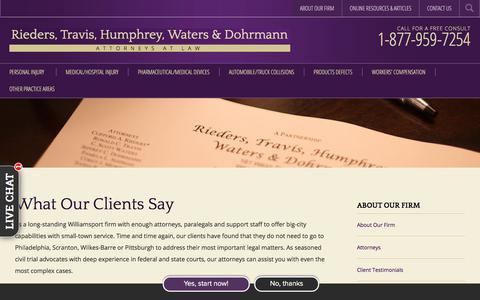 Screenshot of Testimonials Page riederstravis.com - Testimonials - Rieders, Travis, Humphrey, Waters & Dohrmann - captured July 18, 2018