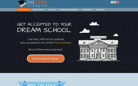 Screenshot of Home Page edgeincollegeprep.com - SAT & ACT Test Prep & Admissions Counseling | The Edge in College Prep - captured Sept. 17, 2014
