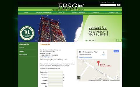 Screenshot of Contact Page fbsginc.com - FBSG Inc - Contact Us - captured Sept. 30, 2014