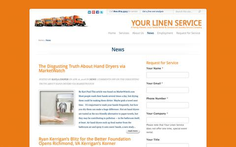 Screenshot of Press Page yourlinenservice.com - News | Your Linen Service - captured Oct. 19, 2018