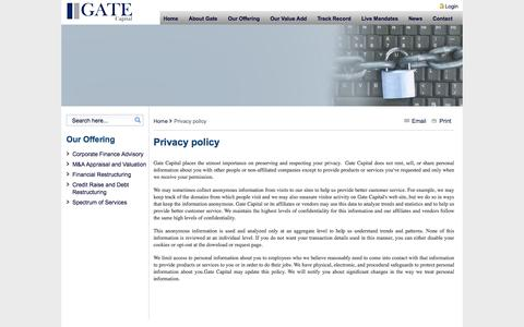 Screenshot of Privacy Page gatecapital.net - Privacy policy - Gate Capital - captured Sept. 29, 2014