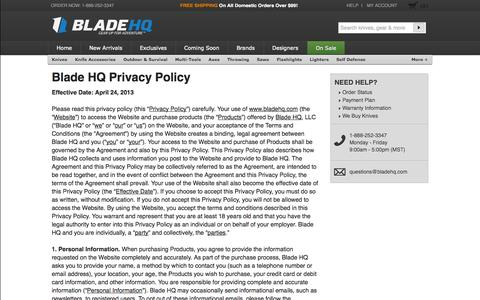 Screenshot of Privacy Page bladehq.com - Privacy Policy - Blade HQ - captured Sept. 24, 2014