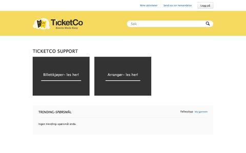Screenshot of Support Page ticketco.no - TicketCo support - captured Sept. 25, 2014