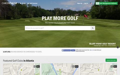 Screenshot of Home Page chronogolf.com - Best Golf Courses, Discounted Tee Time in United States | CHRONOGOLF - captured Feb. 21, 2016