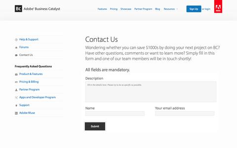 Screenshot of Contact Page businesscatalyst.com - Contact Us | Adobe Business Catalyst - captured Sept. 17, 2014