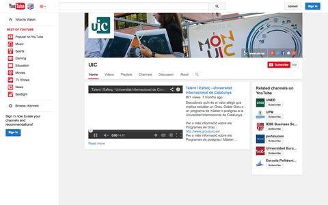 Screenshot of YouTube Page youtube.com - UIC  - YouTube - captured Nov. 4, 2014