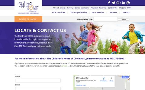 Screenshot of Contact Page thechildrenshomecinti.org - Contact - captured Nov. 6, 2017