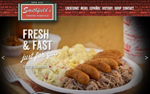 Screenshot of Home Page scnbnc.com - Smithfields Chicken 'N Bar-B-Q | Home - captured Feb. 14, 2016