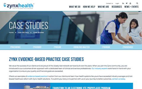 Screenshot of Case Studies Page zynxhealth.com - Evidence-Based Practice Examples & Case Studies   Zynx Health - captured June 28, 2018