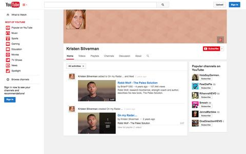 Screenshot of YouTube Page youtube.com - Kristen Silverman  - YouTube - captured Oct. 23, 2014