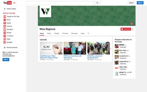 Screenshot of YouTube Page youtube.com - Wise Regional  - YouTube - captured Nov. 4, 2014