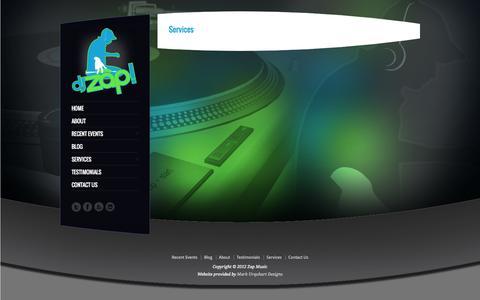 Screenshot of Services Page djzapmusic.com - Services - captured Sept. 30, 2014