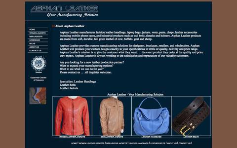 Screenshot of About Page asphan.com - Asphan Leather | Leather Jackets | Leather Handbags | Leather Belts - captured Oct. 4, 2014