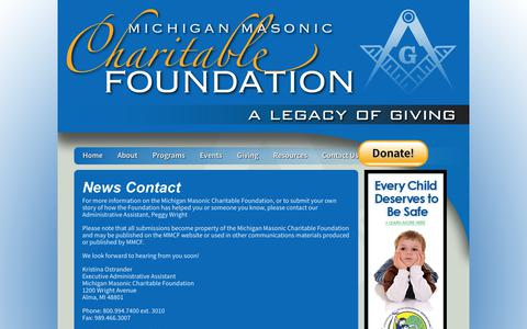 Screenshot of Press Page michiganmasonsfoundation.org - Contact MMCF with Story Ideas - captured Sept. 24, 2018