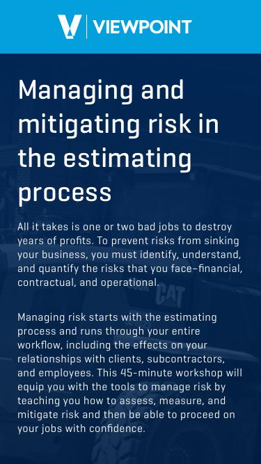 Managing and mitigating risk in the estimating process
