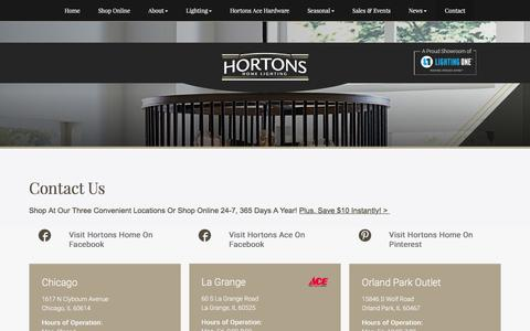 Screenshot of Contact Page hortonshome.com - Hardware Store La Grange | Home Accessories IL | Light Store 60525 - Hortons Home Lighting - captured Sept. 3, 2017
