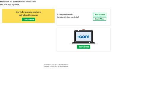Screenshot of Home Page patricksuniforms.com - patricksuniforms.com - captured Sept. 27, 2018