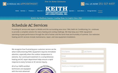 Screenshot of Contact Page keithair.com - Schedule AC Repair & AC Services Today - captured Oct. 17, 2017