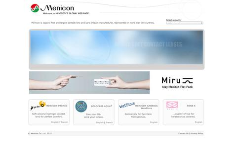 Screenshot of Home Page menicon.com - Welcome to Menicon´s global web page - Menicon soft and GP contact lenses and care products for perfect vision and healthy eyes - captured Oct. 6, 2014