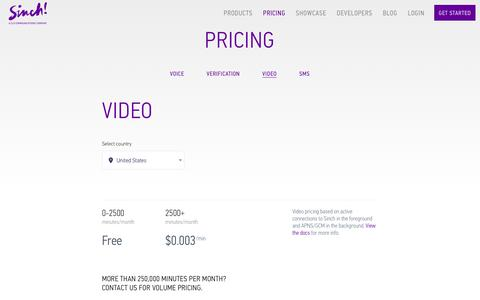 Screenshot of Pricing Page sinch.com - Video Pricing | Sinch - captured July 25, 2017