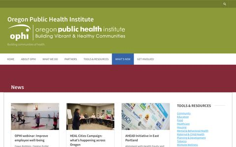 Screenshot of Press Page ophi.org - News – Oregon Public Health Institute - captured Feb. 22, 2016