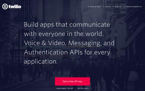 Screenshot of Home Page twilio.com - Twilio - APIs for Text Messaging, VoIP & Voice in the Cloud - captured July 19, 2016